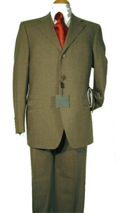 ID# TJ2 Ultimate Wool & Tayloring Classice Dark Olive Green Suits for Men Three buttons