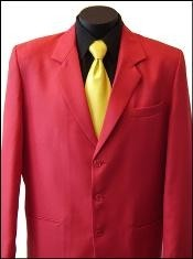 ID#MUZD733TA Excluive Three buttons Dress Sportcoat Jacket or Suit with Metal Buttons in Red Prom pastel color Colors