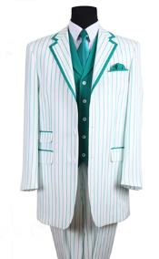 ID#PN_B63 35 Inch White/Turquoise Seersucker Summer Pattern Vested 3 ~ Three Piece Tuxedo Pinstripe Striped Prom ~ Wedding Groomsmen Three Button Zoot Suit - Pimp Suit - Zuit Suit