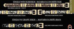 ID#ACV70 Western Diamond Belts mantarraya stingray W/ Tiger & Giraffe Design Gold Brackets by Authentic Los altos