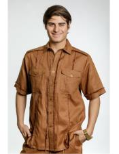 ID#DB16726 Short Sleeve Toffee Fringe Edge Linen Fashionable Casual Dress Shirt