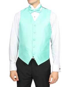 ID#PNJ70 Pale turquoise ~ Light Blue Stage Party 4-Piece Wedding Vest For Groom and Groomsmen Combo Big and Tall  Large Man ~ Plus Size Suits