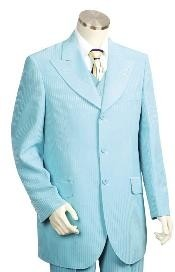ID#HJ2543 Long length Zoot Suit in turquoise ~ Light Blue Perfect for wedding Stage Party
