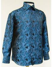 ID#DB19335 High Collar Fashion Turquoise Shiny Floral ~ Flower Design Pattern Cheap Fashion Clearance Shirt Sale Online For Men