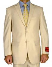 ID#TM14798 Two Button Notch Lapel 100% Wool Double Vent Suit Mantoni Beige