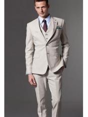 Button Notch Lapel Beige