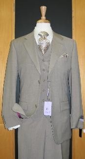 ID#ER489 Two Button 3 - Three Piece Beige Wool fabric and Cashmere Flat Front Cheap Priced Fitted Tapered cut suit