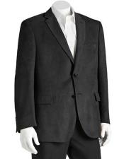 ID#NM14323 Men's 2 Button Classic Fit Polyester Double Vent Black Microsuede Blazer