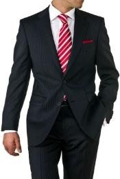 ID#EV1942 Two Button Dark color Black Wedding / Prom Pinstripe Suit