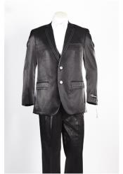 ID#NM493 Mens 2 Button Two Front Pocket Black Suit