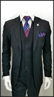 ID#DB17857 Alberto Nardoni 2 Button   Black 3 Piece Notch Lapel suit