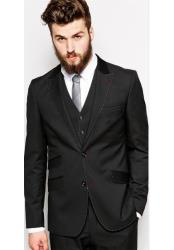 ID#DB18429 Single Breasted 2 Button Black Wedding / Prom Hand Pick Stitching Contrast Lapel