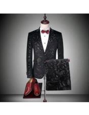 Button Black Floral ~