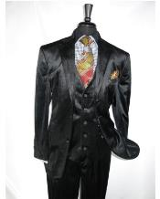 ID#NM14220 Men's 3 ~ Three Piece Vested Velvet Fabric 2 Button Notch lapel Side Vent Suit Pleated Pant Black Wedding / Prom