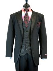 ID#DB23514 Black Wedding / Prom 2 Button  Notch Lapel Side 3 ~ Three Piece Vent Cheap Discounted Suit
