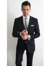 Black Suit White Shirt Grey Tie 2 Button Side Vented Cheap Clearance Sale Prom or Regular Fit Cut Extra Slim Fit Suit