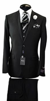 ID#VJ14824 Discounted Online Sale & Vest Black Wedding / Prom 2 Button Italian Cheap Clearance Sale Extra Slim Fit Prom Suit