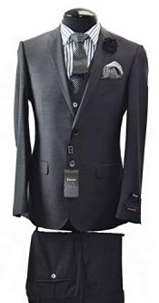 ID#VJ14829 Two Button Slim Fit Suit & Vest Italian Discounted Online Sale Luxe suits for sale Available Black