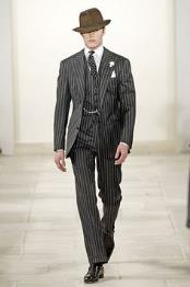 ID#KO18031 3 ~ Three Piece 2 Button Black and White Wedding / Prom and Bold Chalk Gangster White Stripe Vested Big Notch Lapel Suit