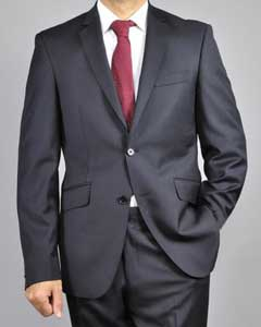 ID#Z90S Mantoni Dark color black 2-Button Wool fabric Slim-Fit Suit
