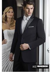 ID#VJ15278 100% Wool Super 120's Evening Peak 2 Button Peak Tuxedo Black