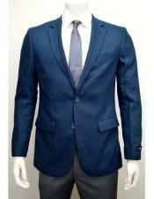 ID#NM189 Blue Linen For Beach Wedding outfit Two Button Notch Lapel  Side Vent Jacket Sport coat Best Cheap Blazer Suit Jacket For Affordable Cheap Priced Unique Fancy For Men Available Big Sizes on sale Men Affordable Sport Coats Sale