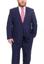 ID#DB22689 Two Button Plaid Pattern Portly Fit Blue 100% Wool Fully Lined Suit