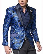 Coat Jacket Blue Satin