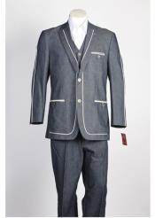 ID#NM519 Mens Blue 2 Piece 2 Button Suit
