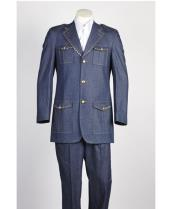 ID#NM631 Mens Two Piece 2 Button Safari Military Style Blue Online Indian Wedding Outfits ~ Mandarin ~ Nehru Collar Jacket Collarless Style Suit