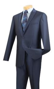 ID#AC-623 Two Button Peak Collared Prom ~ Wedding Groomsmen Tuxedo Trimmed Formal wear Suit Midnight