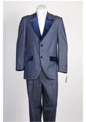 ID#NM383 Mens  Velvet 2 Button Denim Jean Blue Suit