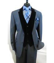 Button Blue Velour Vested