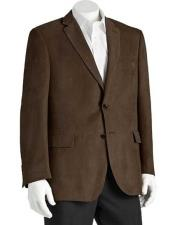 ID#NM14327 Men's 2 Button Classic Fit Polyester Brown Double Vent Notch Lapel Microsuede Blazer