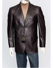 Men's Alligator Jacket Print Zacchi Genuine Leather Feel 2 Button Italian Cut  Brown Crocodile Blazer Available In Big And Tall