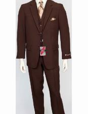 ID#VJ15064 Poly Poplin Single Breasted Two Button Closure Notch Lapel 3 Piece Dress Suit Brown