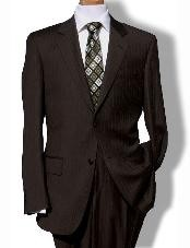 ID#KL9977 Two Button Coco Chocolate brown Pinstripe Suit