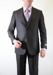ID#BC-50 Two Button 3 ~ Three Piece Inexpensive ~ Cheap ~ Discounted Clearance Sale Extra Slim Fit Prom Vested Shadow Stripe ~ Pinstripe tone on tone Italian Slim Fitted Skinny Herringbone Tweed Suit with sheen Dark Coco Chocolate brown