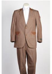 ID#NM381 Mens Denim Jean 2 Button  Brown Suit