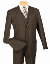 ID#TM14582 2 Button Vest and Classic Pinstripe Suit Brown