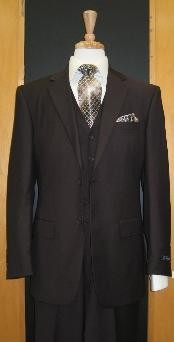ID#SA666 Two Button Coco Chocolate brown Flat Front 3 - Three Piece Cheap Priced Fitted Tapered cut suit