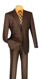 ID#VJ15170 2 Button Plaid Window Pane Vested 3 ~ Three Piece Chestut Suit Brown