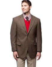 Button Wool Notch Lapel