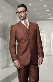 ID#DB20476 2 Button Wool Solid Brown Notch Lapel Big and Tall Large Man ~ Plus Size Vested 3 ~ Three Piece Suits