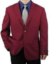 Button Burgundy Notch Lapel
