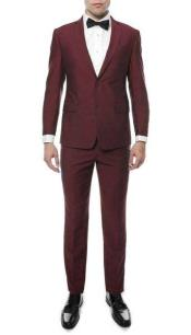 Two Button Classic Notch Collared Wedding Burgundy/Maroon Prom Inexpensive ~ Cheap ~ Discounted Clearance Sale Prom Extra Slim Fit Suit