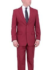 ID#NM158  Wine Red ~ Maroon Two Button Notch Lapel Solid Flat Front Pants Pants  Suit