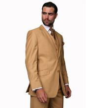 ID#NM14216 Camel 2 Button Fully Lined 100% Wool 3 ~ Three Piece Vested Suit