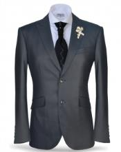Button Peak Lapel Charcoal