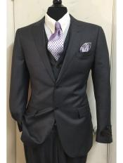 ID#DB18960 Tiglio Single Breasted Charcoal 2 Button 150's Wool Peak Lapel Vested 3 ~ Three Piece Suit